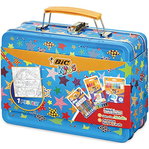 BIC Kids Maletín de colores - 12 Ceras Blandas para Colorear /12 rotuladores de colores Magic /6 Tubos de Pegamento con Purpurina y 1 Póster para Colorear